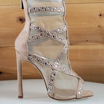 June Nude Mesh Rhinestone Open Toe 4.5 High Heel Boot Shoes