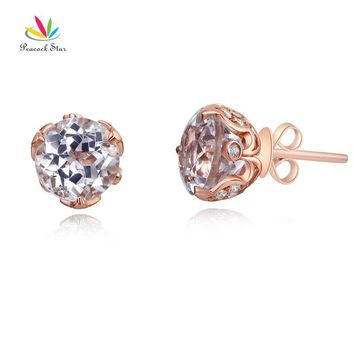 14KT Rose Gold Stud 2.5 Ct Topaz Earrings Natural 0.24 Ct Diamonds
