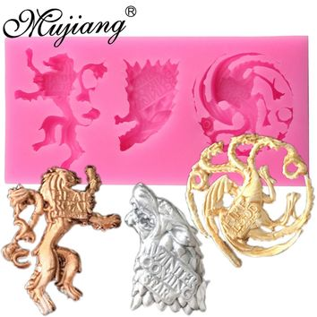 Mujiang Game of Thrones Family Badges Cake Silicone Molds Fondant Cake Decorating Tools Wolf Lion Candy Chocolate Fimo Clay Mold