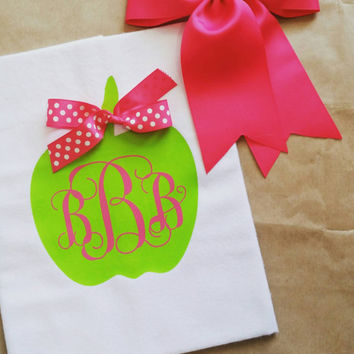 Apple heat printed shirt , girls back to school shirt , cute school shirt , cheap monogram school shirt , girls monogrammed apple shirt