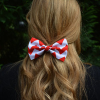 Hair Bow - Red and White Chevron Hair Bow,  bows for hair, girls Hair bows, fabric bows, Hair Bow for teens and women