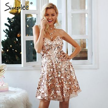 Simplee Shiny sequin backless sexy mesh dress Winter sleeveless mini dress V neck party club women punk style dress vestidos