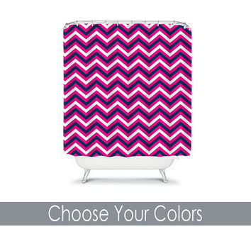 CUSTOM You Choose Colors Hot Pink Navy Chevron Bathroom Bath Shower Curtain Polyester Made in the USA