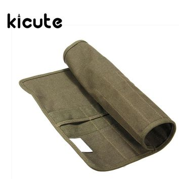 Kicute Unique Roll Up Canvas Paint Brush Bag Pencil Cases For Artist Draw Pen Watercolor Oil Brush Army Green School Supplies