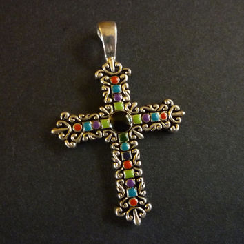 Vintage Cross Pendant, Ornate Religious Cross, Religious Jewelry