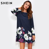 SHEIN Fall Dress Flower Print Flowy Dress Navy Boat Neck Long Sleeve A Line Dress Autumn 2017 Casual Womens Dress