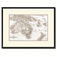 New Zealand Oceania Australia Vintage Sepia Map Canvas Print, Picture Frame Gifts Home Decor Wall Art Decoration