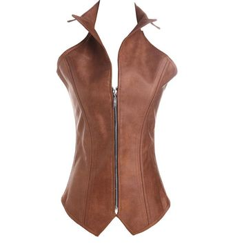 Sexy Faux Leather Corset Sexy Brown Zipper Steampunk Corset Overbust Lace Up Back Vest Corset Corselet Espartilhos for Women
