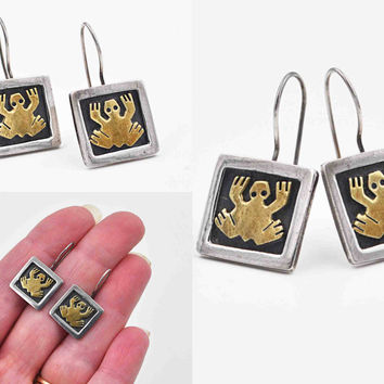 Vintage Far Fetched Sterling Silver Frog Pierced Earrings, Mexico, Mixed Metals, Oxidized, Dangle, Drop, Handmade, So Cute! #c160