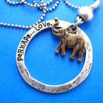 Elephant Animal Pendant Hoop Necklace in Bronze on Silver