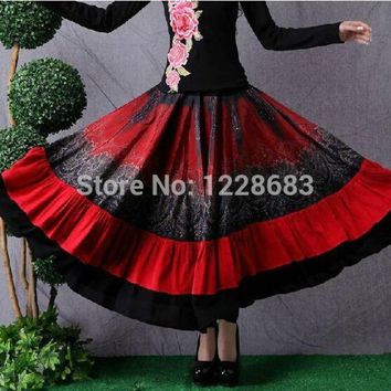 LMFOK8 Red Black Women Long Belly Dance Skirt Gypsy Clothing Adult Lady Gypsy Costume
