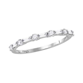 14kt White Gold Womens Round Baguette Diamond Stackable Band Ring 3/8 Cttw