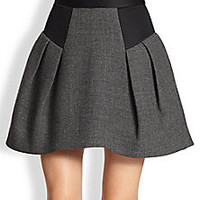 MILLY - Raquel Flared Wool Skirt - Saks Fifth Avenue Mobile