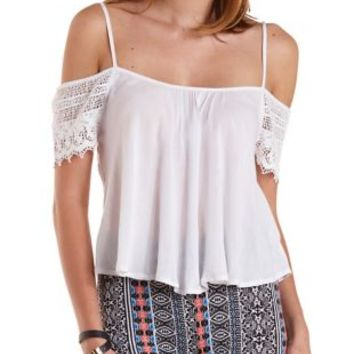 White Crochet Cold Shoulder Swing Top by Charlotte Russe