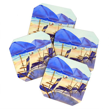 Laura Trevey Beach Chairs Coaster Set