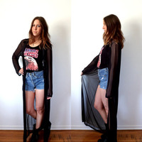 Vintage Sheer Black Duster Long Sleeve Maxi Jacket