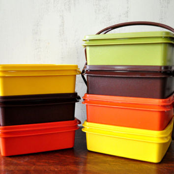 Vintage Stacking Tupperware, Square Containers, Food Storage, Lunch Box, Set of Seven with Carrier Handle