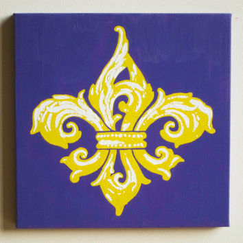 "Fleur de Lis Painting, LSU Tigers Purple & Yellow, Acrylic on Canvas 12""x12"", New Orleans Saints Decor Kappa Gamma Wall Christmas Gift"