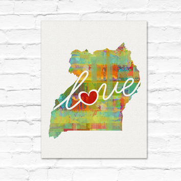 Uganda Love - An Unframed Watercolor-Style, Modern Wall Art Print. A Thoughtful Adoption, Vacation, Housewarming Gift (Free Shipping)