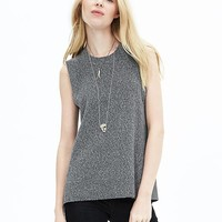Banana Republic Womens Faux Leather Side Sweater Tank