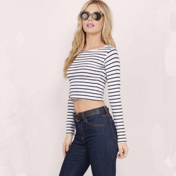 ONETOW Fashion Stripe Long Sleeve Round Neck T-shirt Women Casual Crop Tops
