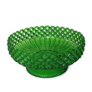 Retro Plastic Bowl-Regoline-Bright Green-Vintage Plastic-Pedestal Bowl-Flower Vase-USA-Lattice Design-Kitsch-Large-9 Inches