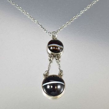Antique Scottish Banded Agate Pendant Necklace C. 1900