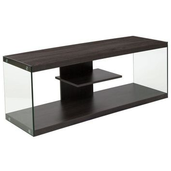 ICIKION Cedar Lane Collection Wood Grain Finish TV Stand with Shelves and Glass Frame