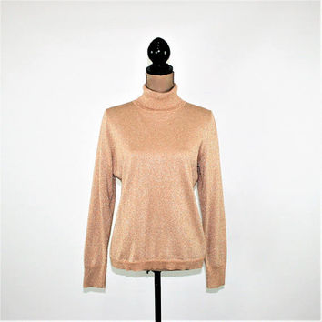 Sparkly Knit Top Beige Gold Metallic Turtleneck Women Petite Medium Large Long Sleeve Holiday Party Talbots Womens Clothing