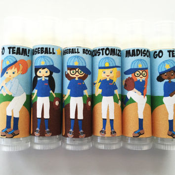 6 pc Girls Softball Party Favors/Baseball Party Favors/Baseball/Party Favors/Girl Birthday Party/Lip balm/Chapstick Party Favor/Gift Bags