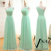 Mint Green Prom Dress Elegant Formal One Shoulde Zipper Up Back Long Chiffon Mint Green Bridesmaid Dress Mint Green Evening Dress