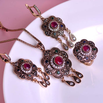 Classic Style Turkish Vintage Jewelry Sets Necklace & Earrings & Ring Sculpture Flowers 3 Colors Resin Crystal Anti Gold tassels