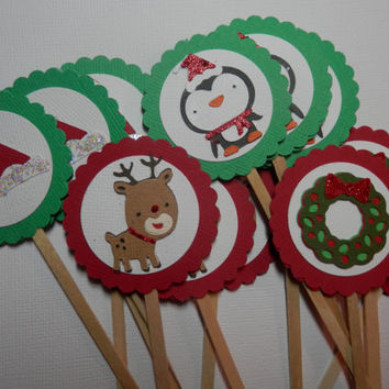 Set of 12 Christmas Holiday Cupcake Toppers