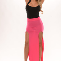 Double Slit High Waist Maxi Skirt - Hot Pink