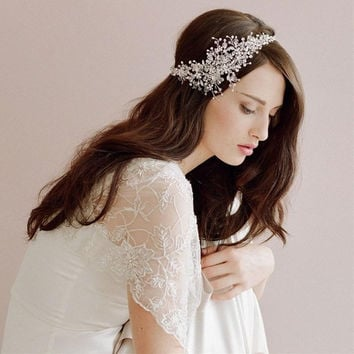 Europe And America Beautiful Bride Headwear Crystal Hair Accessories (Size: 12cm by 37cm, Color: White) = 1929723908