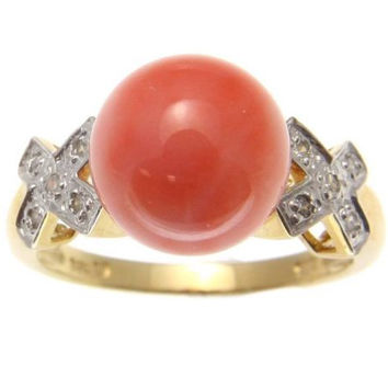 GENUINE NATURAL NOT ENHANCED PINK CORAL BALL DIAMOND RING SOLID 14K YELLOW GOLD