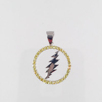 Grateful Dead, Sterling Silver Round 13 Point Bolt Pendant with Yellow Sapphire Gems