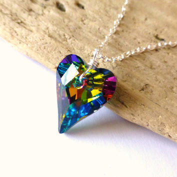 Rainbow Crystal Heart Necklace, Swarovski Prism Heart Pendant, Wire Wrapped, Sterling Silver, Summer Fashion