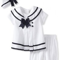 Rare Editions Baby Girls 3 Piece Gift Set White Nautical Sailor Dress Set - 9 Months
