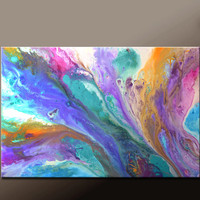 Abstract Canvas Art Painting Canvas 36x24 Original Modern Contemporary Paintings by Destiny Womack - dWo - Summer Sky