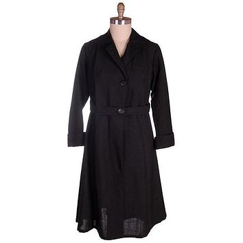 Vintage Ladies Coat Edwardian-Early 1920s Black Serge Wool 44-40-50