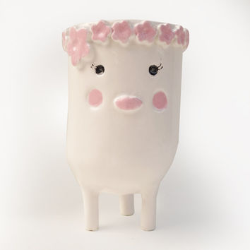Pink Blushing Lady Planter - White Plant Pot or Smiling Face Planter with Pink Flowers and Tripod Legs