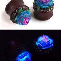 ANY SIZE Ombre Rose Plugs - Organic Wood - ANYCOLORS
