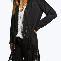 Black Long Sleeve Fringed Coat