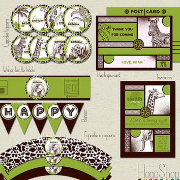 Safari birthday party package Jungle African Zoo theme kit kids girls boys party decoration DIY Customized Printable Safari set