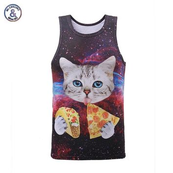Mr.1991INC New Arrival Men/women 3d Tank tops summer cool vest Funny print eating pizza cat space galaxy tees shirts 17models