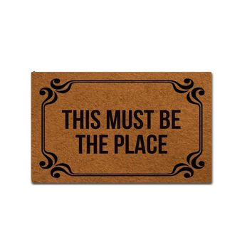 Autumn Fall welcome door mat doormat  Entrance Mat - Funny  - This Must Be The Place Indoor Outdoor Decoration  18x30 Inch AT_76_7