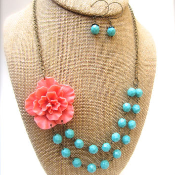 Coral Statement Necklace Flower Necklace Double Strand Necklace Chunky Necklace Bridesmaid Jewelry Floral Jewelry Coral Wedding