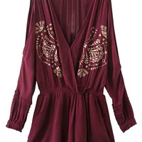 Burgundy Wrap Plunge Cold Shoulder Embroidery Romper Playsuit