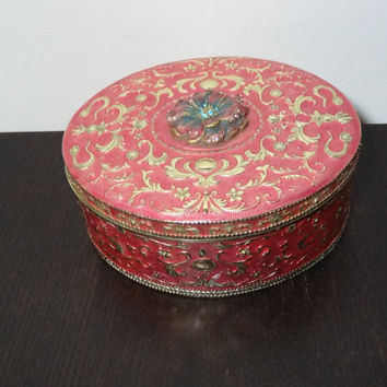 Vintage Pink And Teal Enameled Gold Tone Oval Metal Jewelry Box with Mirror And Black Velvet Interior